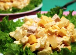 Классический салат ананас с курицей рецепт с